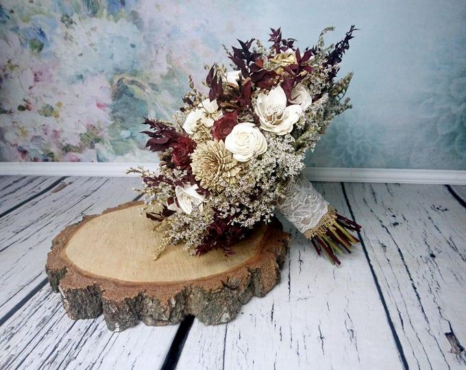 BIG cream ivory burgundy gold brown rustic autumn fall winter woodland wedding BOUQUET sola flowers limonium pine cone cedar rose Burlap
