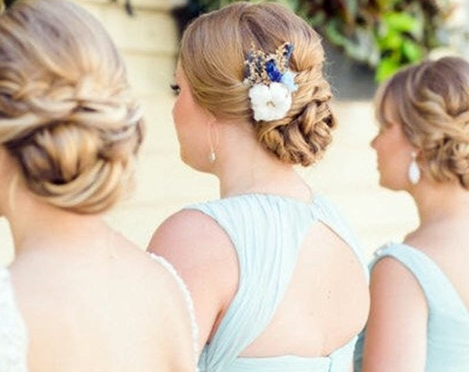 Cotton boll, burlap and sola flowers hair comb in gold and shades of blue