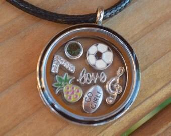 Soccer, Soccer Necklace, Large Soccer Floating Locket, Soccer Necklace, Soccer Jewelry, Soccer Mom, Soccer Jewelry, Soccer Gift, Soccer Girl