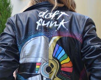Daft Punk Custom Leather Jacket Hand-painted