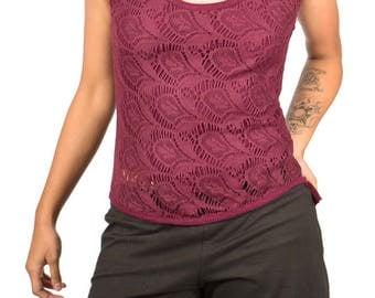 MR511 Crochet Ruffle Top