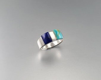Ring with Lapis Lazuli and Turquoise set in Sterling silver - gift idea - half and half - gemstone shades of blue - AAA Grade stone
