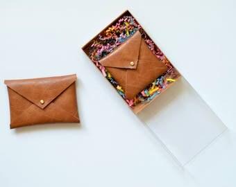 Vegan leather envelope wallet, gifts for her, square business card holder, business card case, card wallet, card holder, envelope clutch