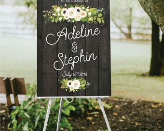 DARK Wood Plank Wedding Welcome Sign . White Poppy Fern Dahlia Rose Gold Greenery Garland Calligraphy PRINTED on Paper • Foam Board • Canvas
