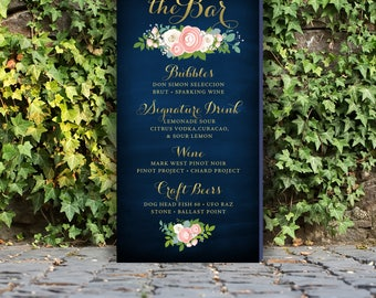 Bar Menu Drink Cocktail Large PRINTED Sign . Gold Script & Navy Chalkboard Pink Ranunculus Peony Garland White Rose Blush Dusty Miller Teal