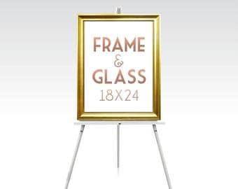 18 x 24 FRAME & GLASS . Gold Wedding Rose Gold Silver White Black Rustic Wood Picture Frame No Glass . 5 x 7in to 24 x 36in sizes available