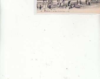 Biarritz France Birds Eye View Beach-Bathers-Boats-Onlookers-Rocks- Antique Postcard