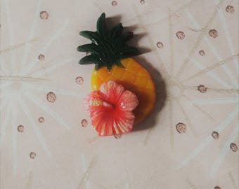 50s Inspired Tropical Brooch,Pineapple Pin,Hibiscus Pin,Tiki Brooch,Rockabilly Jewelry,Novelty Brooch,Tiki Jewelry,Tropical Jewelry,Pin Up.