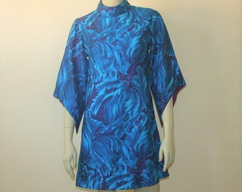 1960s Hawaiian Print Go Go Dress W/ Bell Sleeves Small