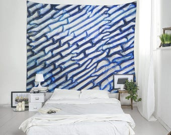 Blue Tapestry, Abstract Wall Decor, Microphotography Art, Cool Wall Hanging, Dorm Decoration, Large Tapestries, Outdoor Tapestry