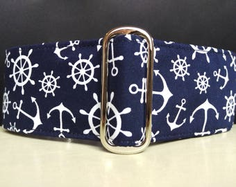 "Martingale Collar - Whippet, Greyhound, Italian Greyhound - 1"", 1.5"" and 2"" width - Ships Ahoy!"