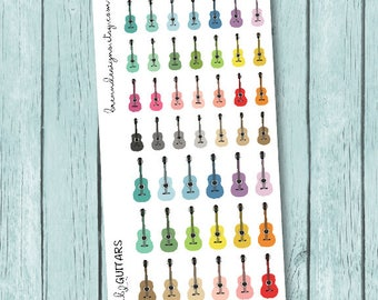 Guitar Stickers, Music Lesson Icons, Practice, Recital and Concert Icon Planner Stickers