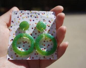 Lime Hoop Earrings