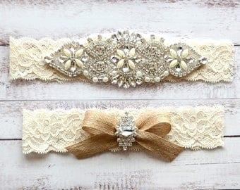 Wedding Garter, NO Slip Lace Wedding Garter Set, bridal garter set, pearl and rhinestone garter set, vintage rhinestones Style A2027