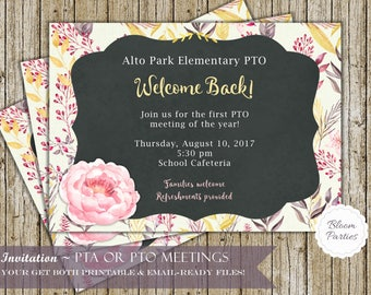PTA Invitation and PTO Invitation for PTA Meetings and School Events or Monthly Announcements - Digital Printable File and Email Ready File!