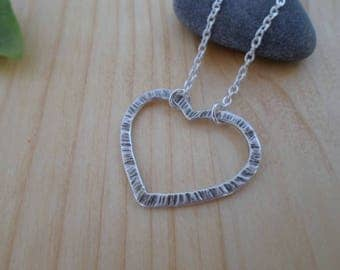 Heart sterling silver necklace, heart silver pendant, silversmith jewelry, silver initial heart, silver heart jewelry, heart pendant