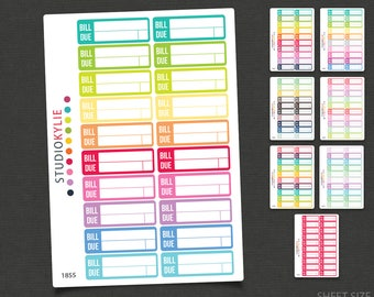Bill Due Planner Stickers - Repositionable Matte Vinyl