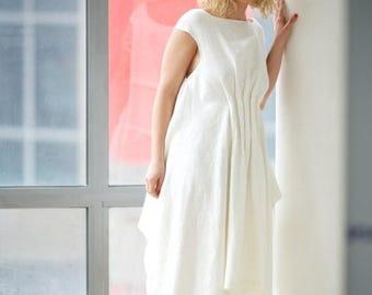 SALE Linen Dress, Wedding Dress, Sleeveless Dress, White Asymmetric Dress, Boho Dress, Kaftan Dress, Boat Neck Dress, Plus Size Dress