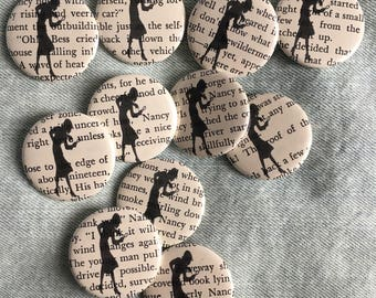 Nancy Drew button, recycled book page button, book button,  1.5 inch pin back button, 37 mm pinback button