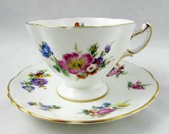 Hammersley Tea Cup and Saucer with Flowers, Square Shape, Vintage Bone China