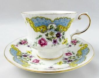 "Vintage Tea Cup and Saucer, Elizabethan Teacup with Blue Decor, ""Rose Marie"" Pattern, Fine Bone China"