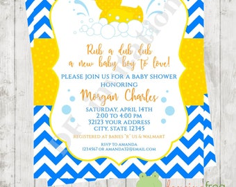 "Custom Printed 4.25X5.5"" Chevron Rubber Duck, Rubber Duckie, Ducky Baby Shower Invitations, envelopes included"