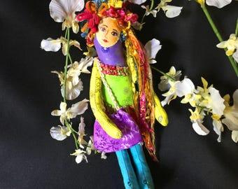 Gypsy Fiber art doll, One of a kind original doll, OOAK, cloth art doll, stuffed doll, Boho doll, Collectible doll, Boho Art Doll #7
