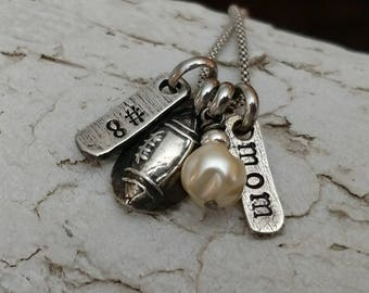Football Mom Personalized Charm Necklace Girlfriend Necklace Mom Necklace Football Grandma Football Aunt Football Sister Team Mom Gift