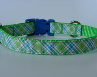 Plaid Small Dog Collar - Lime & Blue - READY TO SHIP!