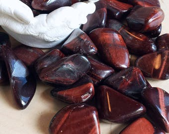 Tumbled Red Tiger Eye, Set of 3 Red Tiger Eye Gemstones, Tumbled Stones, Healing Crystals, Stones for Grids, Metaphysical, Witchcraft, Wicca