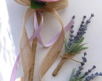 Rustic Bridesmaid Flower Girl Wand. Lavender And Rose. Wedding flowers. Heart wand.