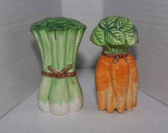 Fitz and Floyd Salt & Pepper Shakers Vegetable Scallions and Carrot Bunch--AS IS