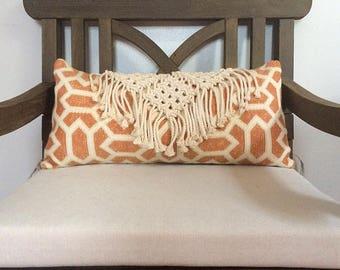Geometric Macramé Pillow with Long Fringe and Rust Accent Button, Boho Pillow, 12x22 Macramé Home Decor, Decorative Accent Macrame Pillow