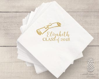 Graduation Napkins | Personalized Napkins | Class of 2018 Napkins | Graduation Party Napkins