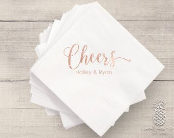 Bride and Groom Cheers Wedding | Customizable Cocktail Napkins | Engagement Bridal Parties and Showers | social graces and Co
