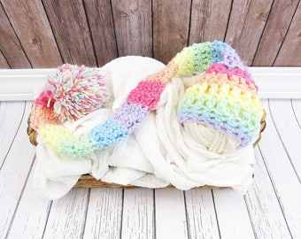 Pastel Rainbow Baby Elf Hat, Newborn Photo Prop