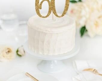 Hello 60 Cake Topper - 60th Birthday Cake Topper - Glitter Cake Topper - Custom Age Cake Topper - 60th Birthday Decor - Hello Sixty