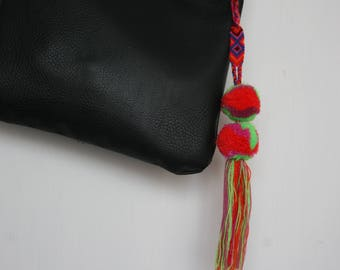Mexican Pom Pom - charm- decoration- key chain- green, purple & red