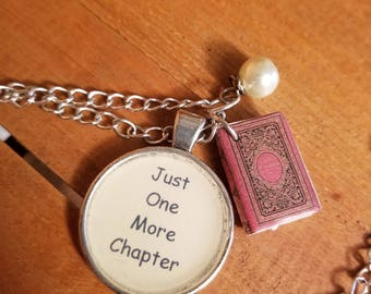 Just One More Chapter Book Charm Necklace, Book Lover Necklace, Book Nerd Necklace, Book Charm, Reading Necklace, Ready to Ship, MarjorieMae