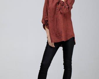 Melange Red Linen Shirt / Red Linen Tunic / Red Linen Top / Loose Shirt / Loose Fit Top / Women Shirt / Loose Tunic / Wide Shirt