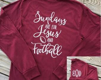 Monogrammed Jesus and Football Long Sleeve Shirt, Football Season, Football Mom, Football Mom Shirts, Football Mom Shirt, Game day Shirts