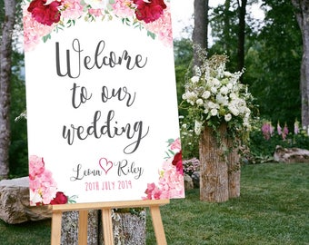 Wedding Welcome Sign, Floral Welcome Sign, Printable Wedding Sign, Floral Wedding Welcome Sign, Floral Wedding Stationery