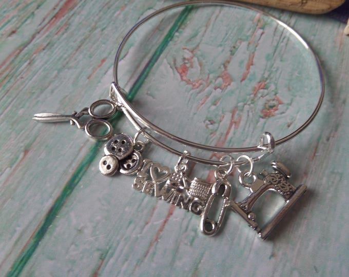 Love Sewing Dressmaker 65mm silver tone 5 charm bangle bracelet fan gift jewellery Uk