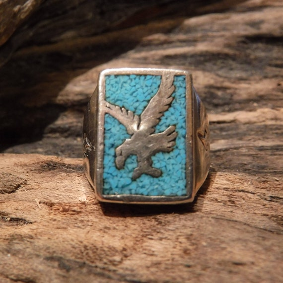 Vintage Mens Silver Eagle Ring Native American Size 10 Heavy 10.4 Grams Mens Rings Sterling Turquoise  Ring Signed CG Mens Ring Silver Eagle