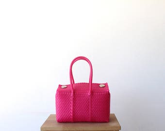 Hot Pink Handwoven Mexican Bag, Oaxaca Tote, Mexican Plastic Bag, Mexican Basket, Mexican Art, MexiMexi, Picnic Basket