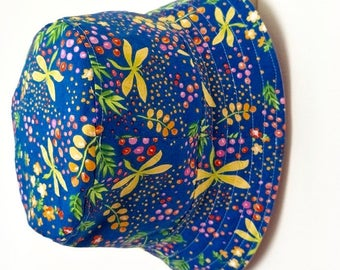 Floral and Dragonfly Baby and Childrens Summer Bucket Hat