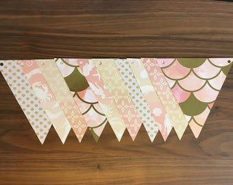 Paper Garland Mermaid, shell, scales, pink and white or blue and white starfish