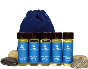 Beard Oil Sampler 5 in 1 Beard Oil Samples - Valentines Day Gift for Men - Sample Set - Vegan Beard Gifts under 15 Mens Gift Ideas