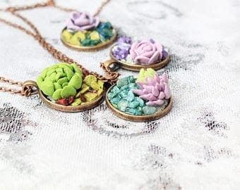 succulent necklace plant jewelry original necklace succulent jewelry green necklace gift wife floral jewelry charm necklace gift mom Рю200