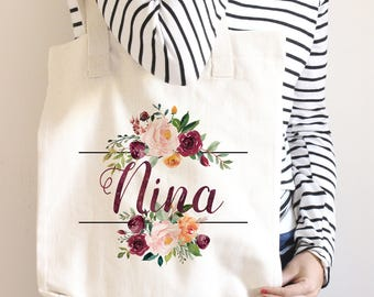 Bridesmaid Gift, Bridesmaid Tote Bag, Bridesmaid Bag, Gift for Bridesmaid, Monogram Tote, Personalized Tote Bag, Custom Tote Bag, Marsala